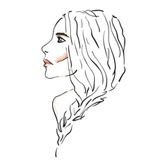 Young woman portrait with red lips. Modern girl sketch. Line drawing.