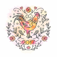 Hand Drawn Rooster. 2017 Chinese New Year of the Cock.
