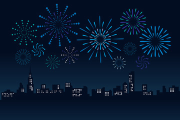 Firework and Cityscape Building in night scene Vector Illustration design