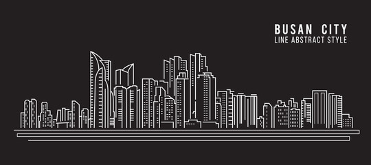 Cityscape Building Line art Vector Illustration design - Busan city