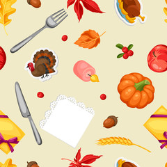 Thanksgiving Day seamless pattern. Ornament with autumn and holiday objects