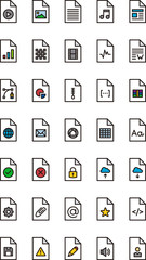 FILES & DOCUMENTS filled outline icons
