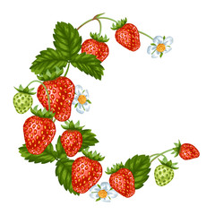 Decorative element with red strawberries. Illustration of berries and leaves
