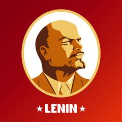 Portrait of Vladimir Lenin. Poster stylized Soviet-style.