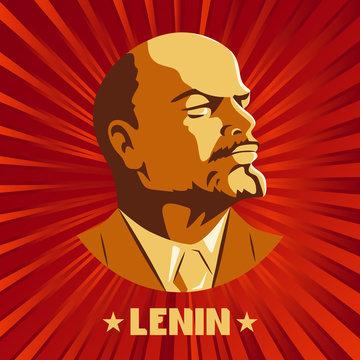 Portrait of Vladimir Lenin. Poster stylized Soviet-style. The leader of the USSR. Russian revolutionary symbol.