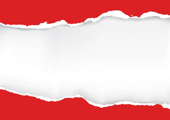 Red ripped paper.
