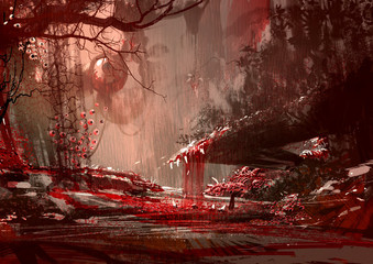 bloodyland,horror landscape, illustration,digital paintng Wall mural