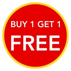 Buy one get one free, promotional sale label