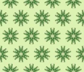 abstract Christmas snowflakes. Green color background. Seamless vector illustration.
