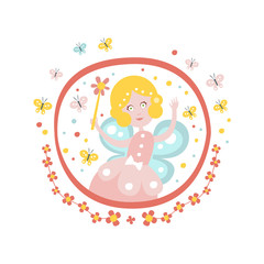 Fairy Godmother  Tale Character Girly Sticker In Round Frame