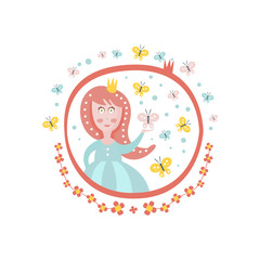Crowned Princess Fairy Tale Character Girly Sticker In Round Frame