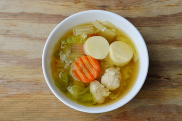 boiled Chinese cabbage with egg tofu and minced pork soup