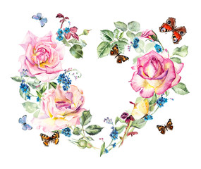 Frame heart from roses. Wedding drawings. Greeting cards. Flower backdrop. Watercolor hand drawn illustration