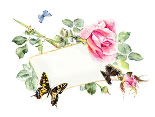 Frame from roses and butterflies. Wedding drawings. Greeting cards. Watercolor hand drawn illustration