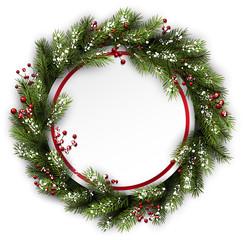 Christmas wreath with holly.