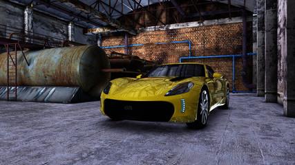 Moderner Sportwagen in einer alten Fabrikhalle