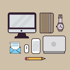 line art illustration outline icon of laptop screen monitor book watches pencil email