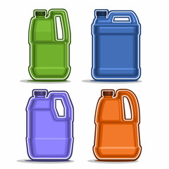 Vector logo colored canisters, consisting of 4 plastic green and blue container bottles with handles and caps isolated closeup on white background.
