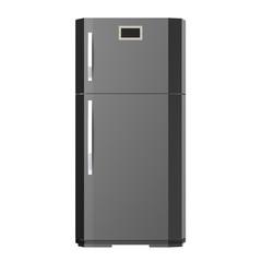 grey new fridge isolated on white