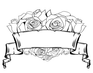 Illustration of roses and old scroll. Vector element for tattoo sketch, printed on a T-shirt and your creativity.