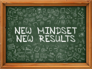 New Mindset New Results - Hand Drawn on Green Chalkboard.