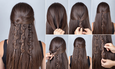 Hairstyle three boho braids tutorial