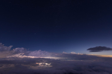 夜景 雲海 夜空 星空