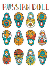 Russian dolls colorful collection.