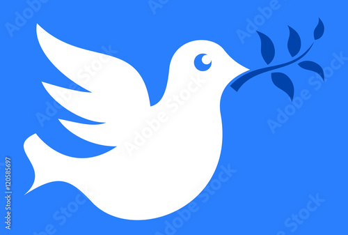 Dove With Olive Branch As Symbol Of Peace And Ceasefire After War