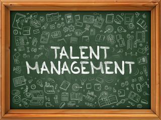 Talent Management - Hand Drawn on Green Chalkboard.