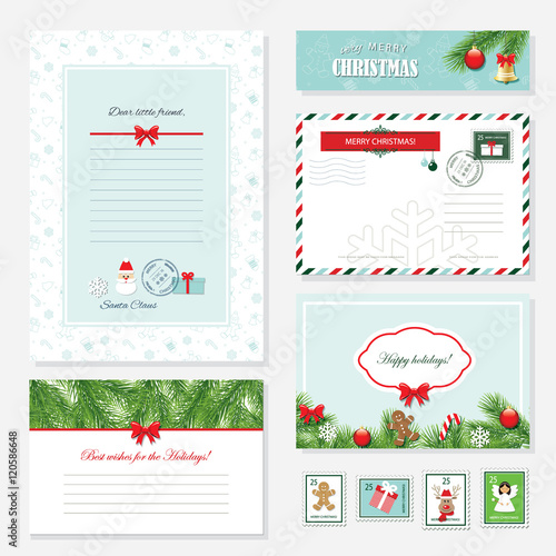 Christmas templates set letter from santa claus greeting cards letter from santa claus greeting cards banner envelope and m4hsunfo