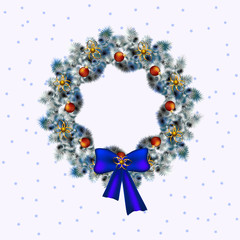 Christmas blue and white wreath, christmas deko in blue accents ,white background, vector.