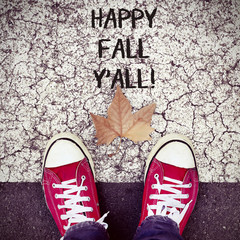 feet, dry leaf and text happy fall yall
