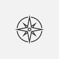 compass line icon, navigation outline vector illustration, linear pictogram isolated on white