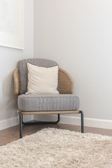 classic chair style on carpet in corner