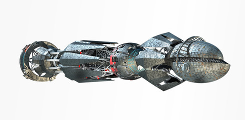 3D rendering of spaceship with a warp-drive in the initiating state, isolated on white for alien fantasy games or science fiction backgrounds of interstellar deep space travel