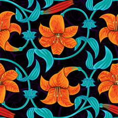 Vector seamless pattern with lily flowers on dark background. tropical summer, bright blue and orange colors.