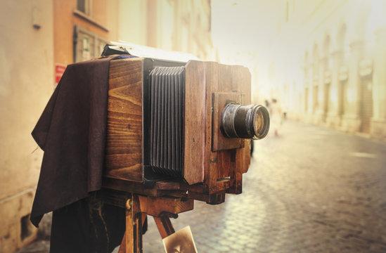Wooden retro camera outdoors