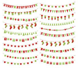 Vector christmas festive garlands