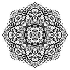 Hand drawing zentangle element. Black and white. Mandala. Vector illustration.