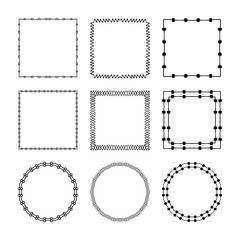 Set of hand drawn, doodle decorative frames and borders. Mono line design templates, isolated on white background