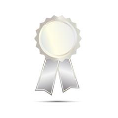 Silver Seal Award Ribbon on white background