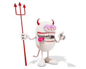 laughing devil cartoon character, 3d rendering