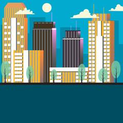 City landscape cartoon vector illustration