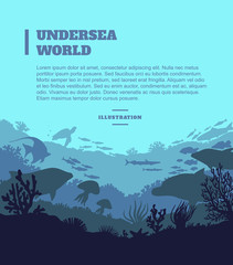 Undersea world illustration background, colored silhouettes elements, flat