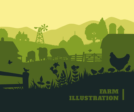 Farm illustration background, colored silhouettes elements, flat