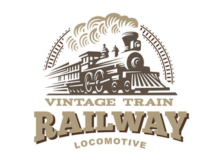 Locomotive logo illustration, vintage style emblem