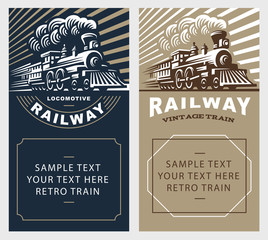 Locomotive poster illustration, vintage style emblem