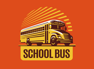 School bus illustration on light background, emblem