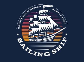 Sailing ship illustration on dark background